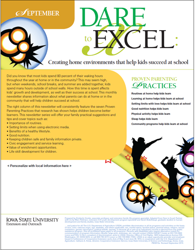 Dare to Excel newsletter - September